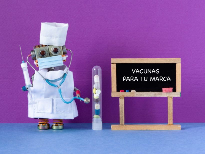 Robot doctor holds syringe with a vaccine against the coronavirus. Chalkboard handwritten text Prevention of COVID 19. Hygiene, handwashing, wear a surgical mask and quarantine